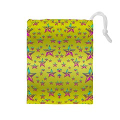 Flower Power Stars Drawstring Pouches (large)  by pepitasart