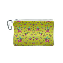 Flower Power Stars Canvas Cosmetic Bag (s) by pepitasart