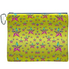 Flower Power Stars Canvas Cosmetic Bag (xxxl)  by pepitasart