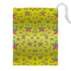 Flower Power Stars Drawstring Pouches (xxl) by pepitasart