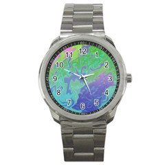 Green Blue Pink Color Splash Sport Metal Watch by BrightVibesDesign