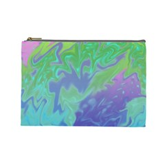 Green Blue Pink Color Splash Cosmetic Bag (Large)  by BrightVibesDesign