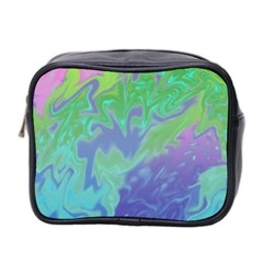 Green Blue Pink Color Splash Mini Toiletries Bag 2 Side by BrightVibesDesign