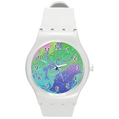 Green Blue Pink Color Splash Round Plastic Sport Watch (m) by BrightVibesDesign