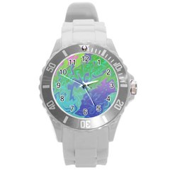 Green Blue Pink Color Splash Round Plastic Sport Watch (l) by BrightVibesDesign