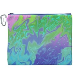 Green Blue Pink Color Splash Canvas Cosmetic Bag (xxxl)  by BrightVibesDesign
