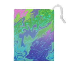 Green Blue Pink Color Splash Drawstring Pouches (extra Large) by BrightVibesDesign