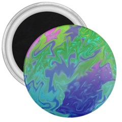 Green Blue Pink Color Splash 3  Magnets by BrightVibesDesign