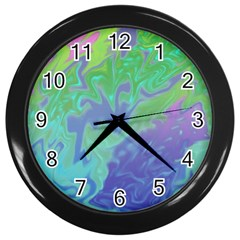 Green Blue Pink Color Splash Wall Clocks (black) by BrightVibesDesign