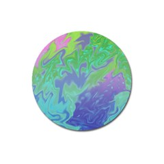 Green Blue Pink Color Splash Magnet 3  (round) by BrightVibesDesign