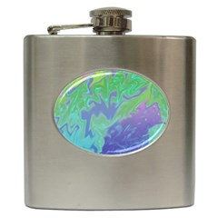 Green Blue Pink Color Splash Hip Flask (6 Oz) by BrightVibesDesign