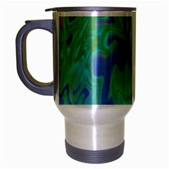 Green Blue Pink Color Splash Travel Mug (silver Gray) by BrightVibesDesign
