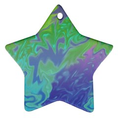 Green Blue Pink Color Splash Star Ornament (two Sides)  by BrightVibesDesign
