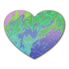 Green Blue Pink Color Splash Heart Mousepads by BrightVibesDesign