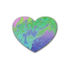 Green Blue Pink Color Splash Heart Coaster (4 Pack)  by BrightVibesDesign