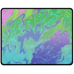 Green Blue Pink Color Splash Fleece Blanket (medium)  by BrightVibesDesign