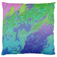 Green Blue Pink Color Splash Large Cushion Case (one Side) by BrightVibesDesign