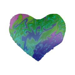 Green Blue Pink Color Splash Standard 16  Premium Heart Shape Cushions by BrightVibesDesign