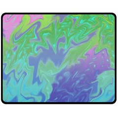Green Blue Pink Color Splash Double Sided Fleece Blanket (medium)  by BrightVibesDesign