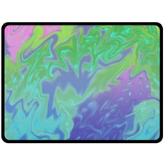 Green Blue Pink Color Splash Double Sided Fleece Blanket (large)  by BrightVibesDesign