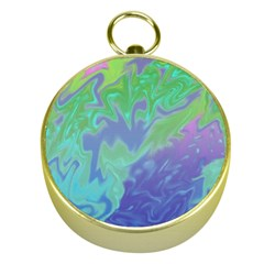 Green Blue Pink Color Splash Gold Compasses by BrightVibesDesign