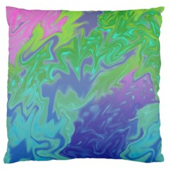 Green Blue Pink Color Splash Large Flano Cushion Case (one Side) by BrightVibesDesign