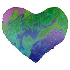 Green Blue Pink Color Splash Large 19  Premium Flano Heart Shape Cushions by BrightVibesDesign