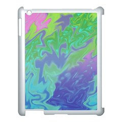 Green Blue Pink Color Splash Apple Ipad 3/4 Case (white) by BrightVibesDesign
