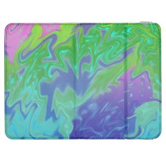 Green Blue Pink Color Splash Samsung Galaxy Tab 7  P1000 Flip Case by BrightVibesDesign
