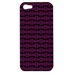 Pink Black Retro Tiki Pattern Apple Iphone 5 Hardshell Case by BrightVibesDesign
