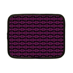 Pink Black Retro Tiki Pattern Netbook Case (small)  by BrightVibesDesign