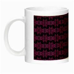 Pink Black Retro Tiki Pattern Night Luminous Mugs by BrightVibesDesign