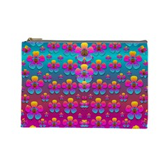 Freedom Peace Flowers Raining In Rainbows Cosmetic Bag (large)  by pepitasart