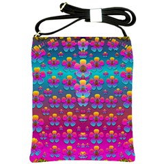 Freedom Peace Flowers Raining In Rainbows Shoulder Sling Bags by pepitasart