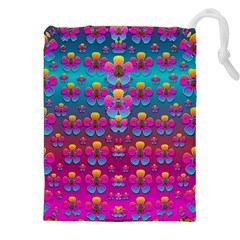 Freedom Peace Flowers Raining In Rainbows Drawstring Pouches (xxl) by pepitasart