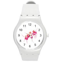 Minimal Floral Print Round Plastic Sport Watch (m) by dflcprints