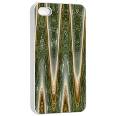Green Brown Zigzag Apple Iphone 4/4s Seamless Case (white) by BrightVibesDesign