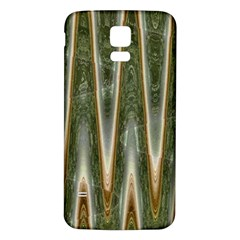 Green Brown Zigzag Samsung Galaxy S5 Back Case (White) by BrightVibesDesign