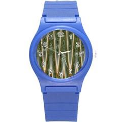 Green Brown Zigzag Round Plastic Sport Watch (s) by BrightVibesDesign