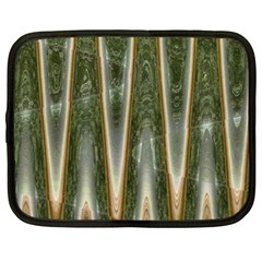 Green Brown Zigzag Netbook Case (XL)  by BrightVibesDesign