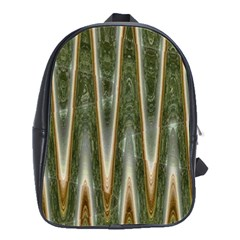 Green Brown Zigzag School Bags(Large)  by BrightVibesDesign