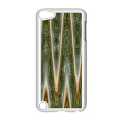 Green Brown Zigzag Apple iPod Touch 5 Case (White) by BrightVibesDesign
