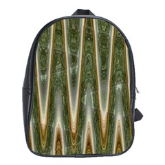 Green Brown Zigzag School Bags (XL)  by BrightVibesDesign