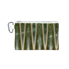 Green Brown Zigzag Canvas Cosmetic Bag (S) by BrightVibesDesign
