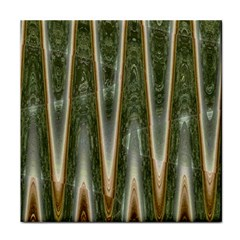 Green Brown Zigzag Tile Coasters by BrightVibesDesign