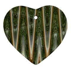 Green Brown Zigzag Ornament (heart)  by BrightVibesDesign