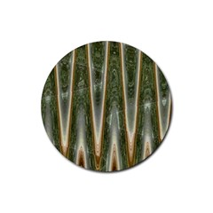 Green Brown Zigzag Rubber Coaster (Round)  by BrightVibesDesign
