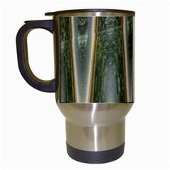 Green Brown Zigzag Travel Mugs (White) by BrightVibesDesign