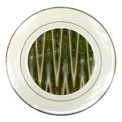 Green Brown Zigzag Porcelain Plates by BrightVibesDesign