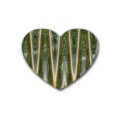 Green Brown Zigzag Rubber Coaster (heart)  by BrightVibesDesign